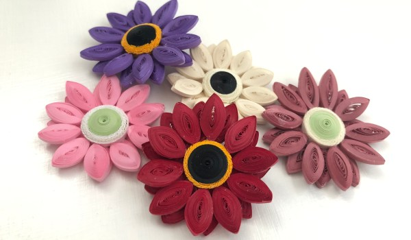 Quilling Paper Gerbera Daisies - Big, bright, beautiful blooms made from thin quilling paper | ThePaperyCraftery.com
