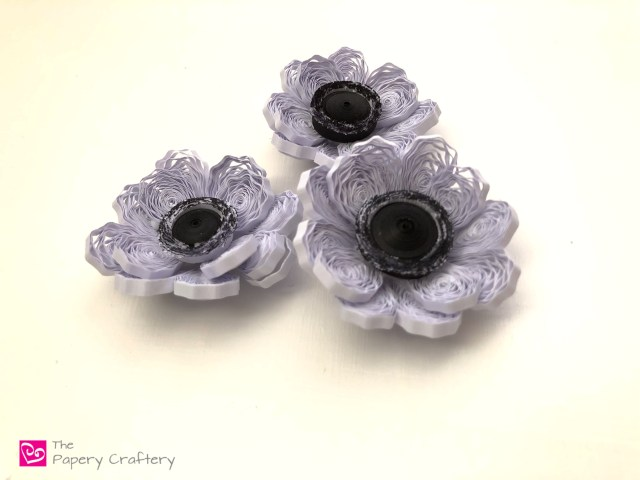 Quilling paper anemone black and white flowers ThePaperyCraftery.com