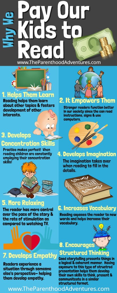 8 benefits to PAYING your child to READ books!