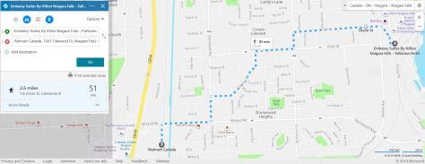 Walmart to Embassy Suites Fallsview walk 2.5 miles