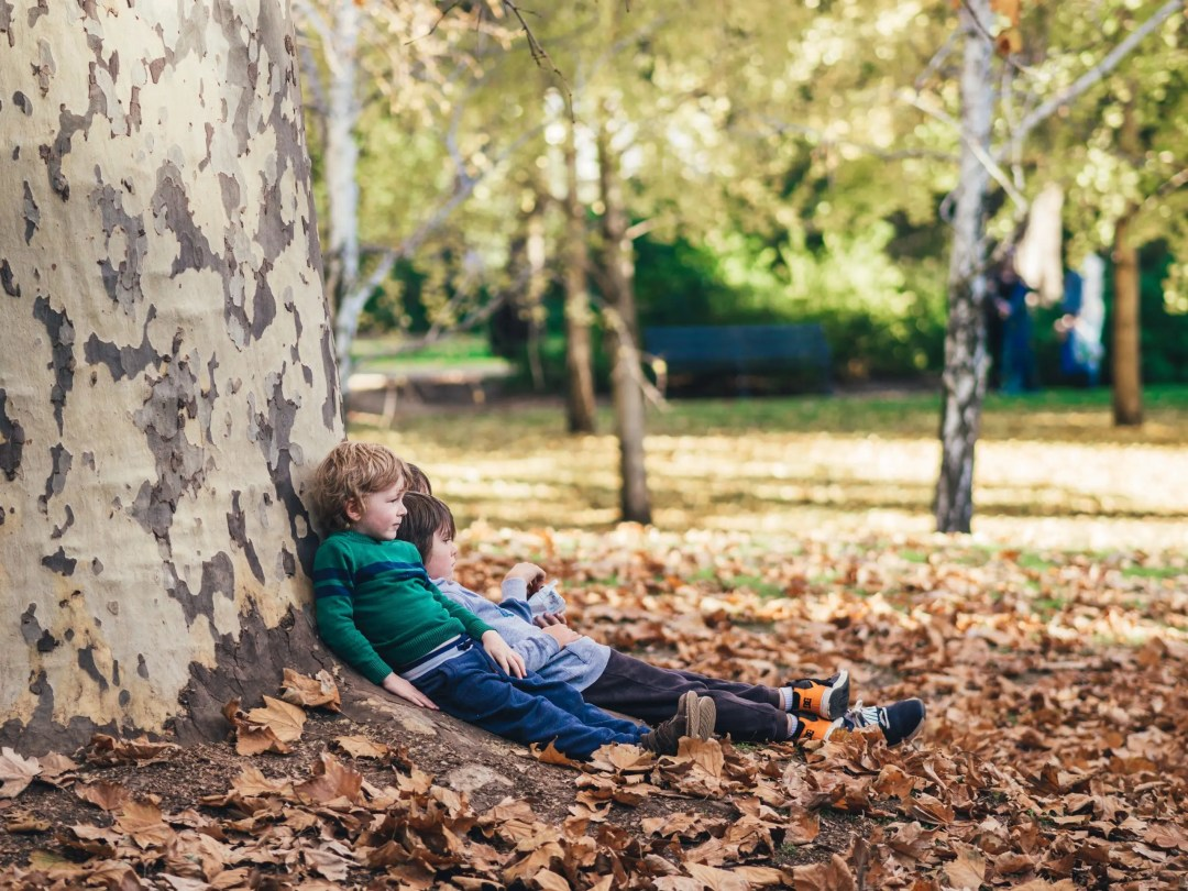 Kids sitting down by tree