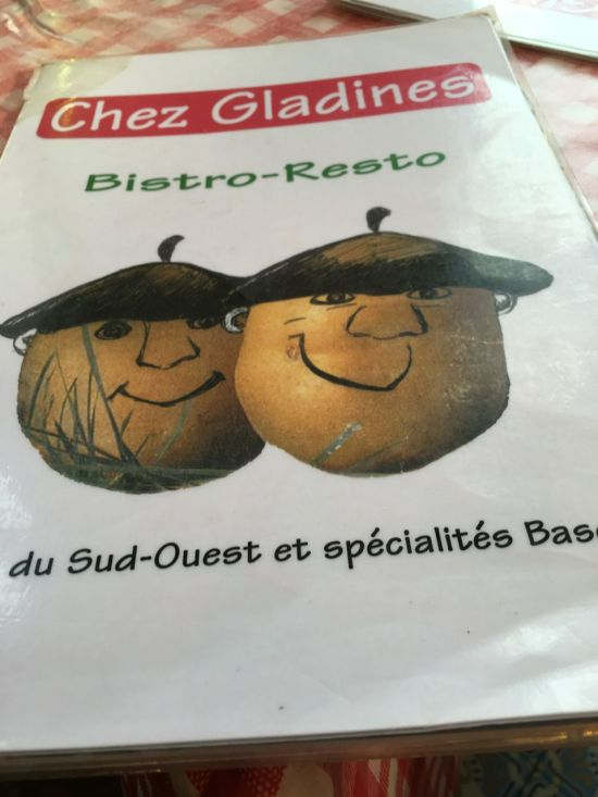 Chez Gladines - le menu