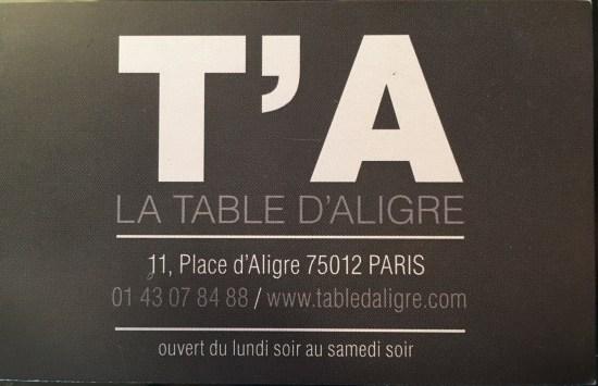 Table Aligre Carte