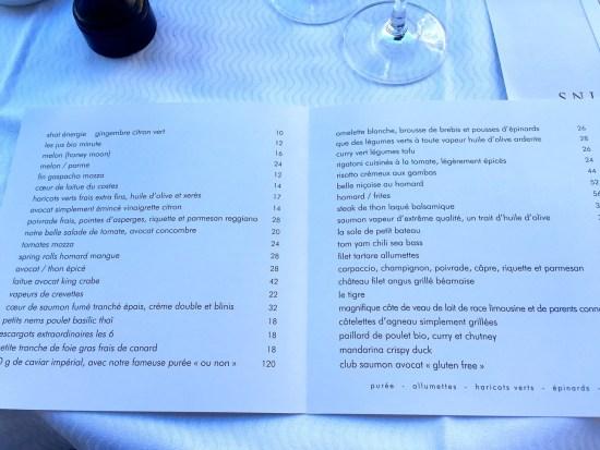 Restaurant l'Avenue - La carte