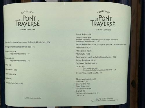 Le Pont Traversé - menu