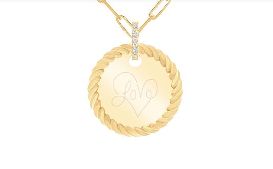 médaï - torsade, plaquée or, bélière diamants de synthèse