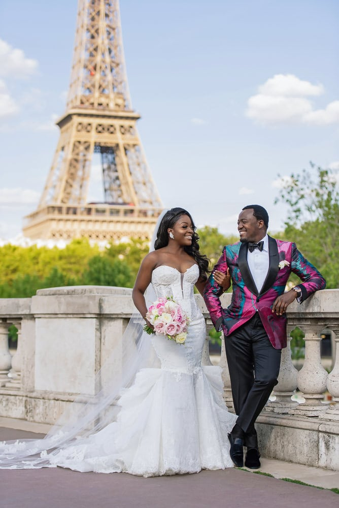 Wedding Photography in Paris - Bride and groom portraits by the Eiffel Tower