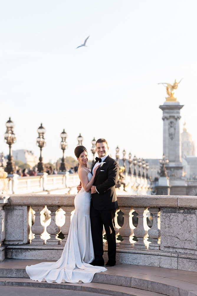 Hotel Crillon Paris wedding – Alexander 3 bridge portraits -1