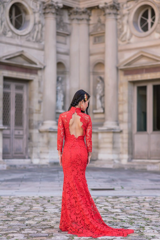 pre wedding photography paris red dress asian bride
