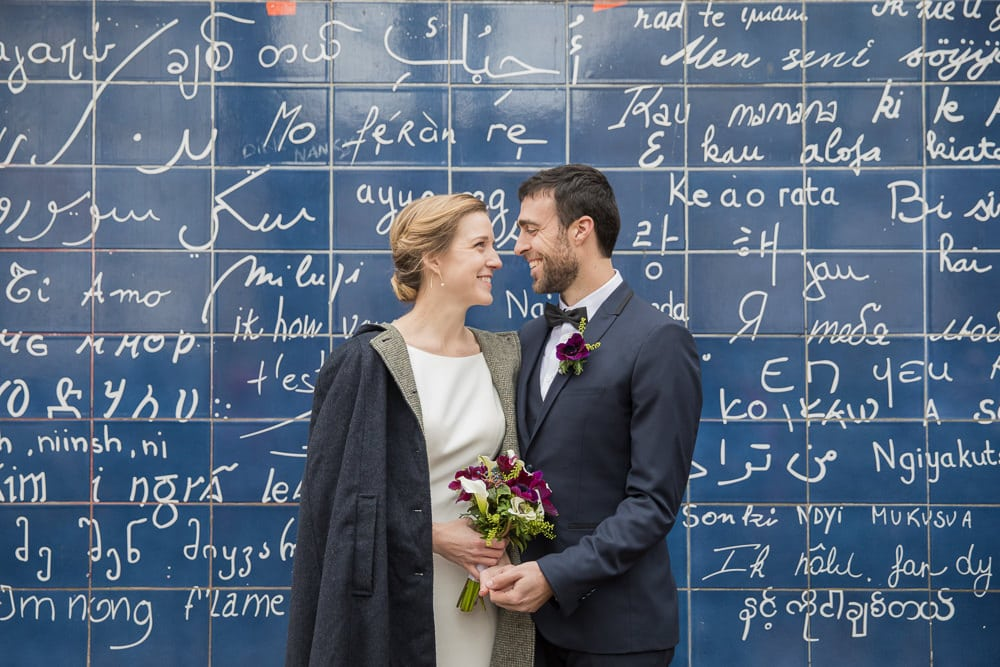 Wedding photos at I Love You wall in Paris, Montmartre