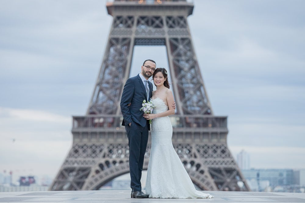Bridal portrait close up Eiffel Tower