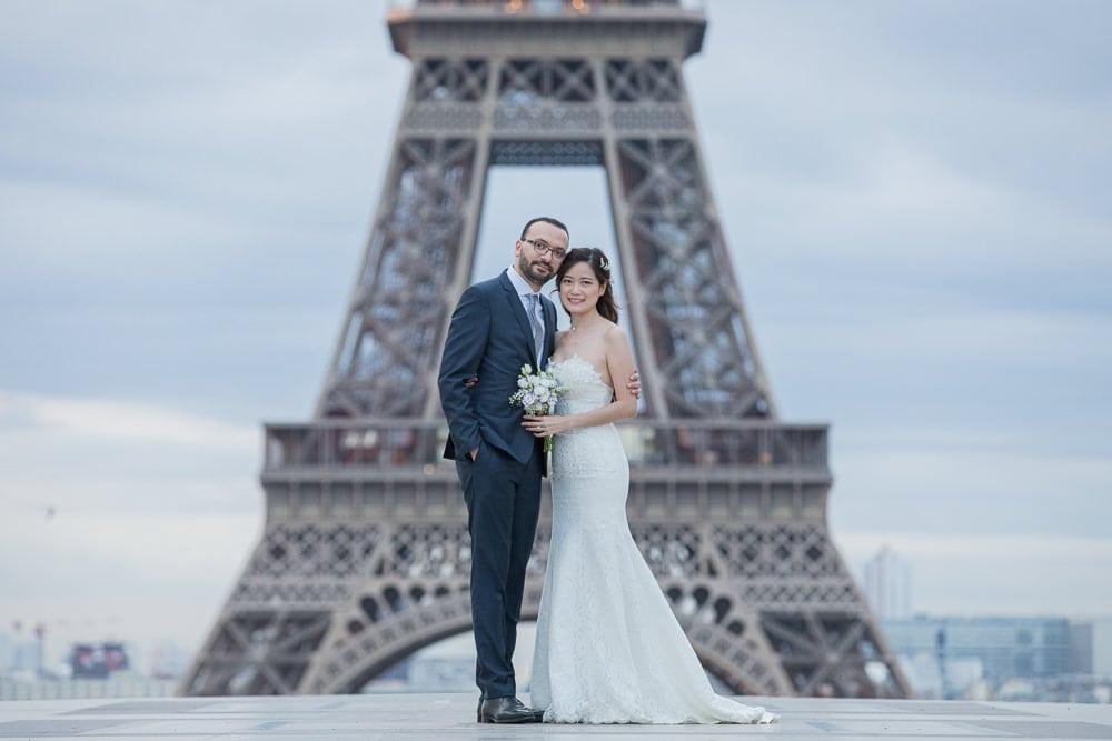 Bridal portrait close up Eiffel Tower