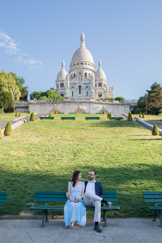 Sacre Coeur in Montmartre Paris pre wedding photo