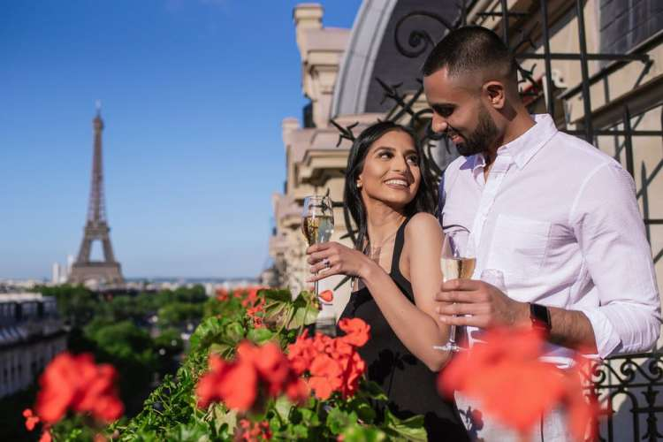Engagement in Paris with Champagne at the Plaza Athenee Paris