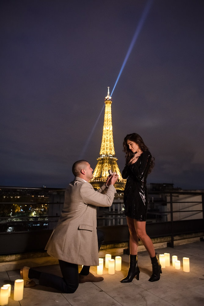 Shangri La Paris Proposal at night with Eiffel Tower lights on