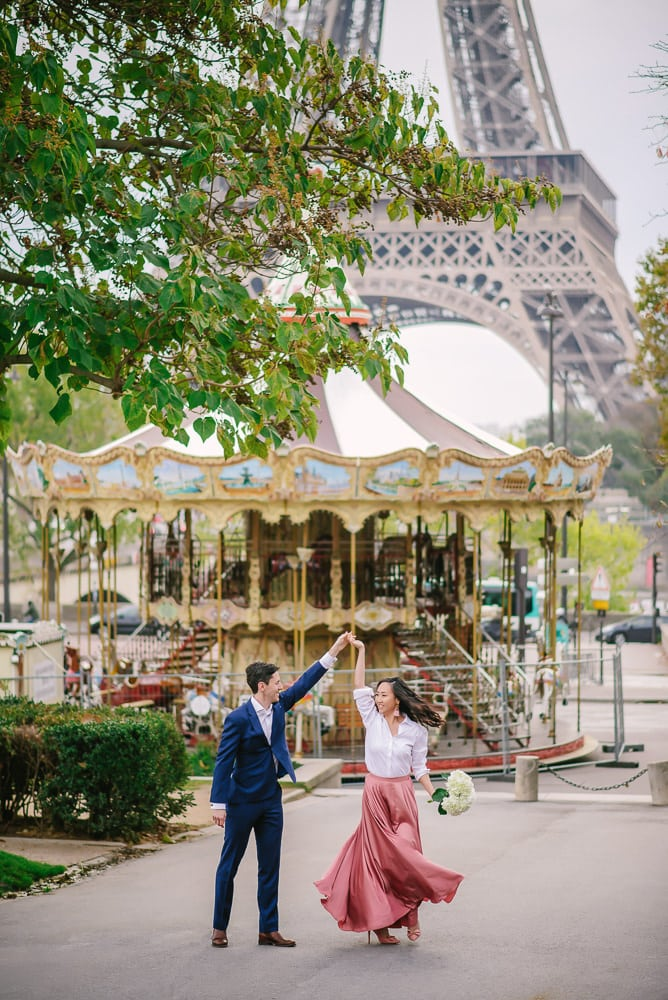 Trocadero Carousel - Eiffe Tower merry go round - proposal spot