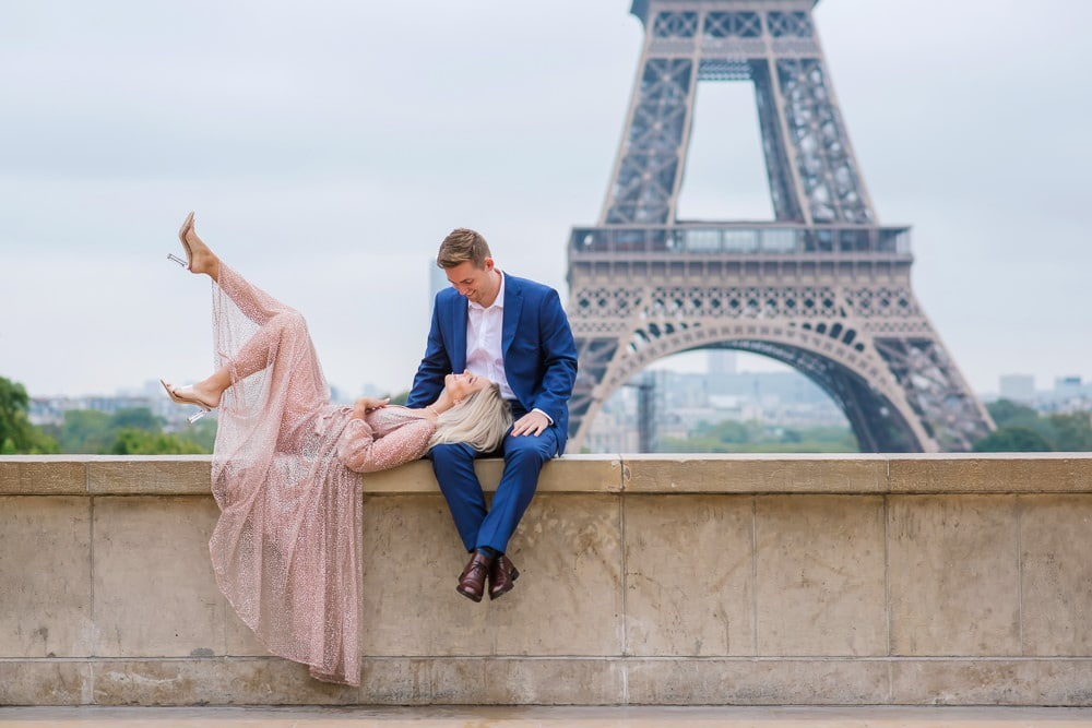 Trocadero ledge - best spot for Eiffel tower engagement photos