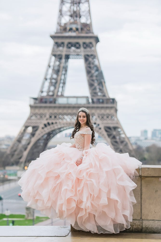 quinceanera dresses in paris, france by the eiffel tower
