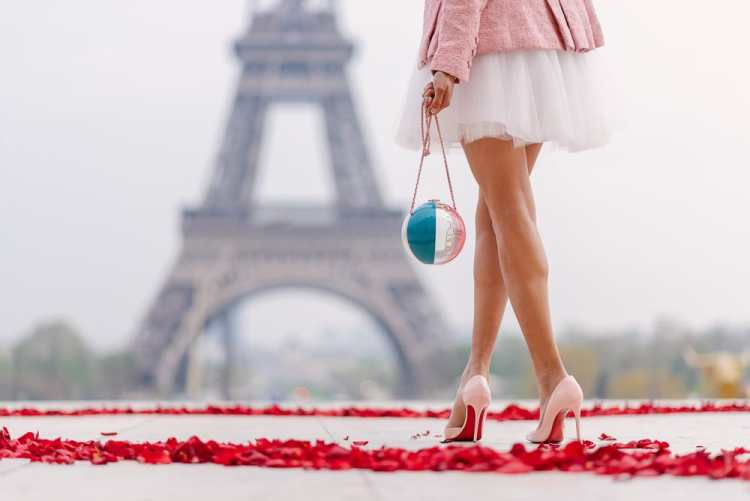 Eiffel Tower portraits - channel purse, louboutin stylettos and tutu dress