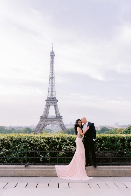 Romantic photos before coronavirus pandemic lockdown in Paris
