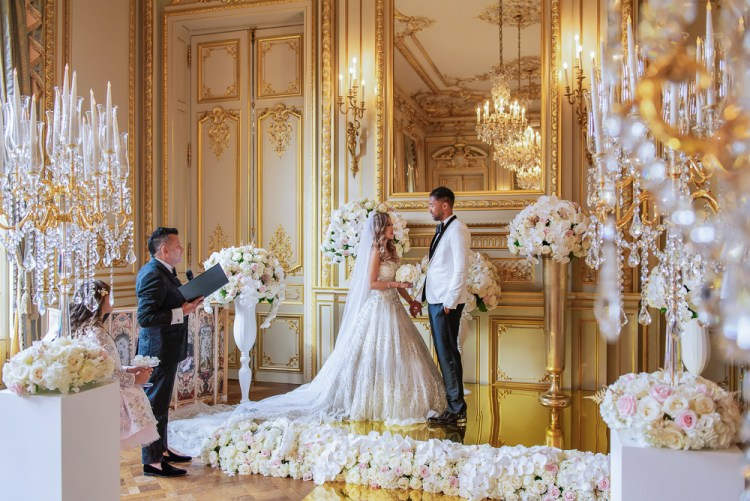 Symbolic wedding ceremony in Paris conducted by a celebrant or officiant