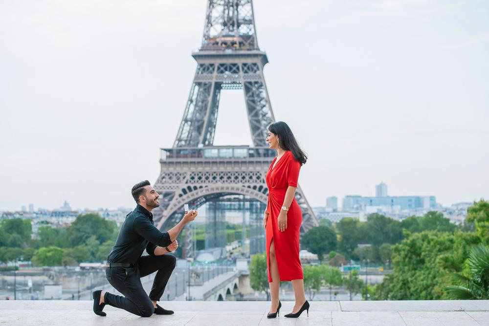 Eiffel Tower sunrise surprise proposal 11