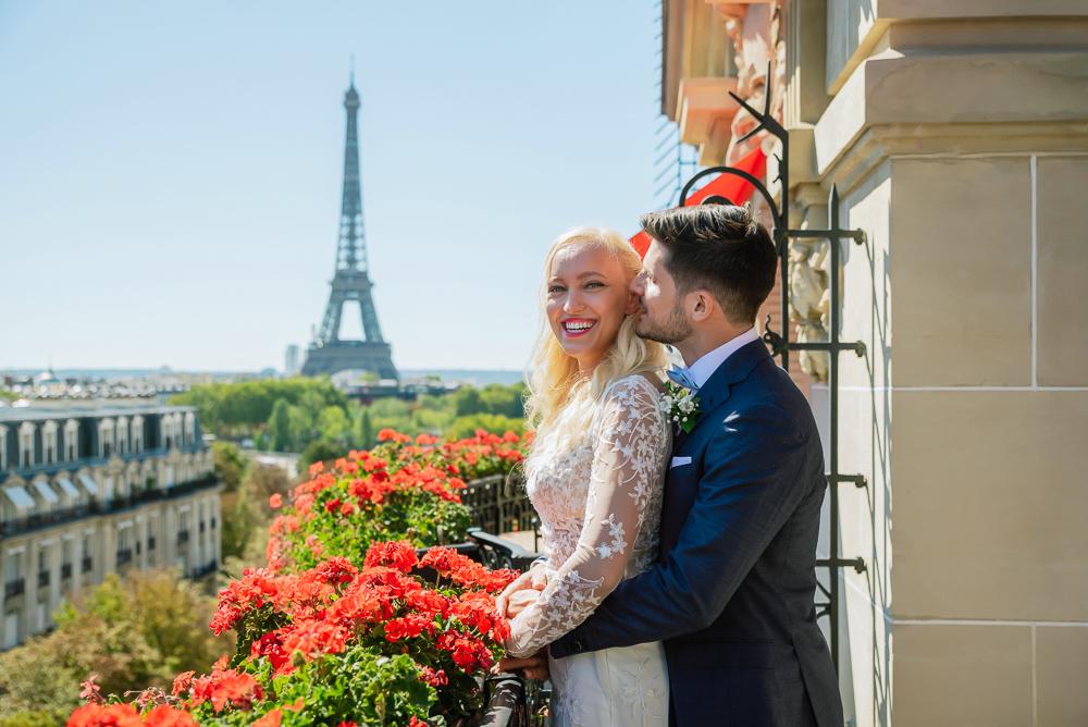 Paris France elopement at Hotel Plaza Athenee captured by Pierre Paris photographer
