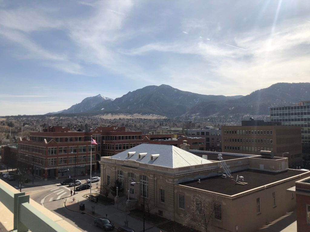A majestic view from the top of the 15th and Pearl parking garage in Boulder