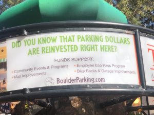 A sign with text Did you know that parking dollars are reinvested right here? Funds support community events & programs, employee eco pass program, mall improvements, bike racks & garage improvements. BoulderParking.com