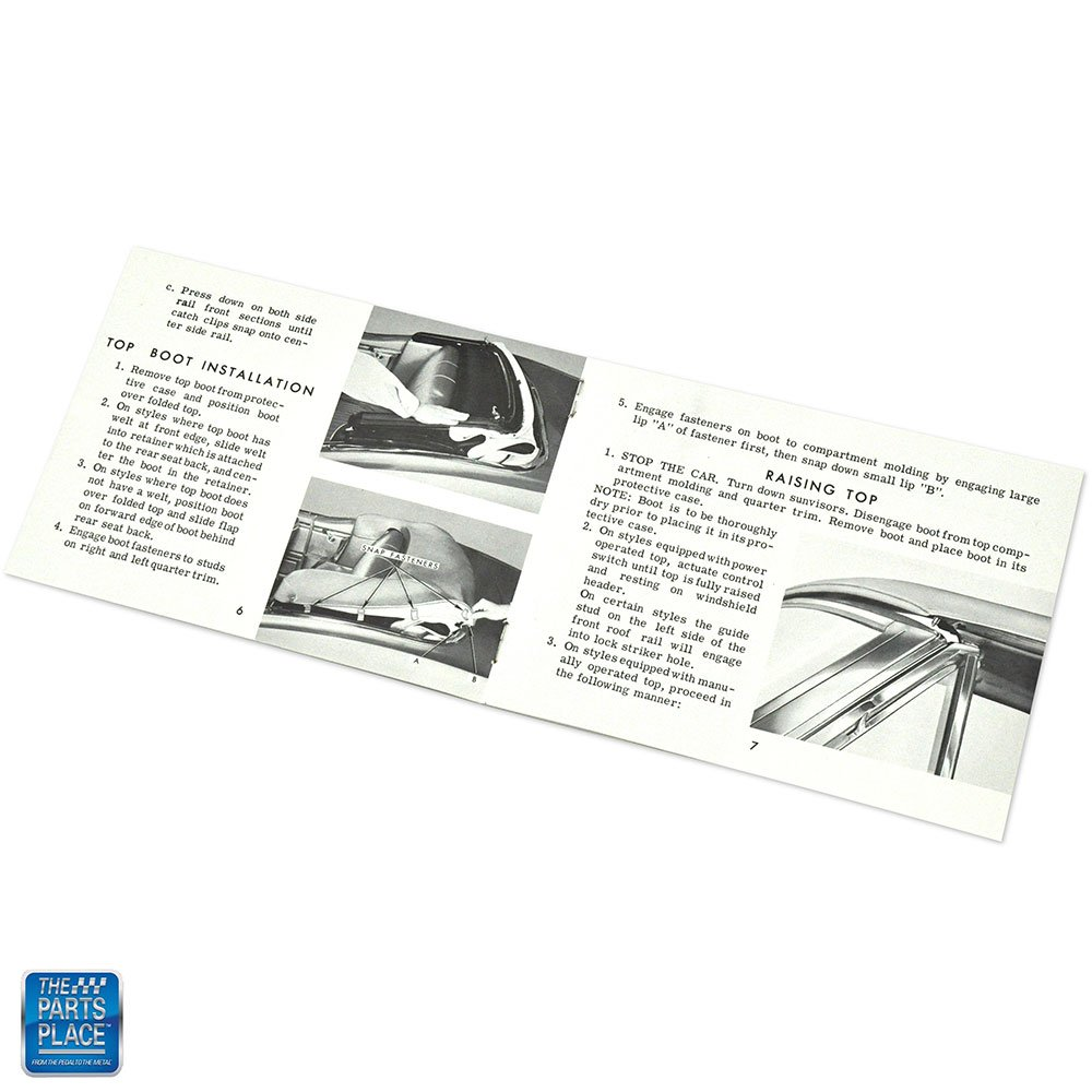 1968 GM Cars GM Convertible Top Manual Booklet SF0107 EA