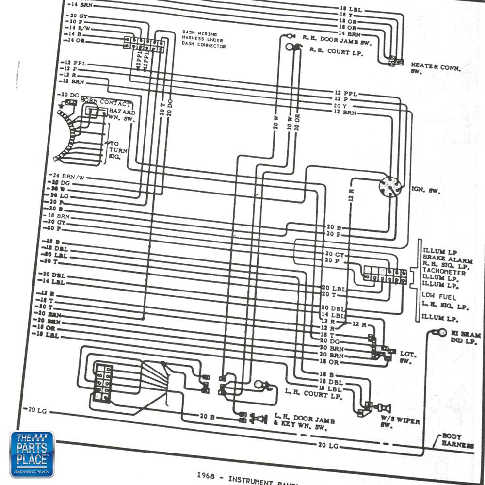 1967-1969 Camaro RS Console Gauge & Headlight Wiring