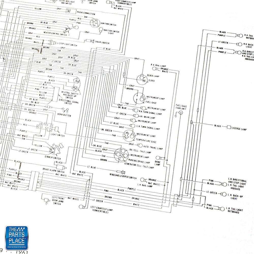 1961 Chevrolet Impala Bel Air Wiring Diagram Manual