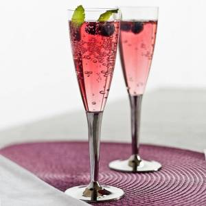 Disposable Plastic Prosecco Flutes with Silver Stem