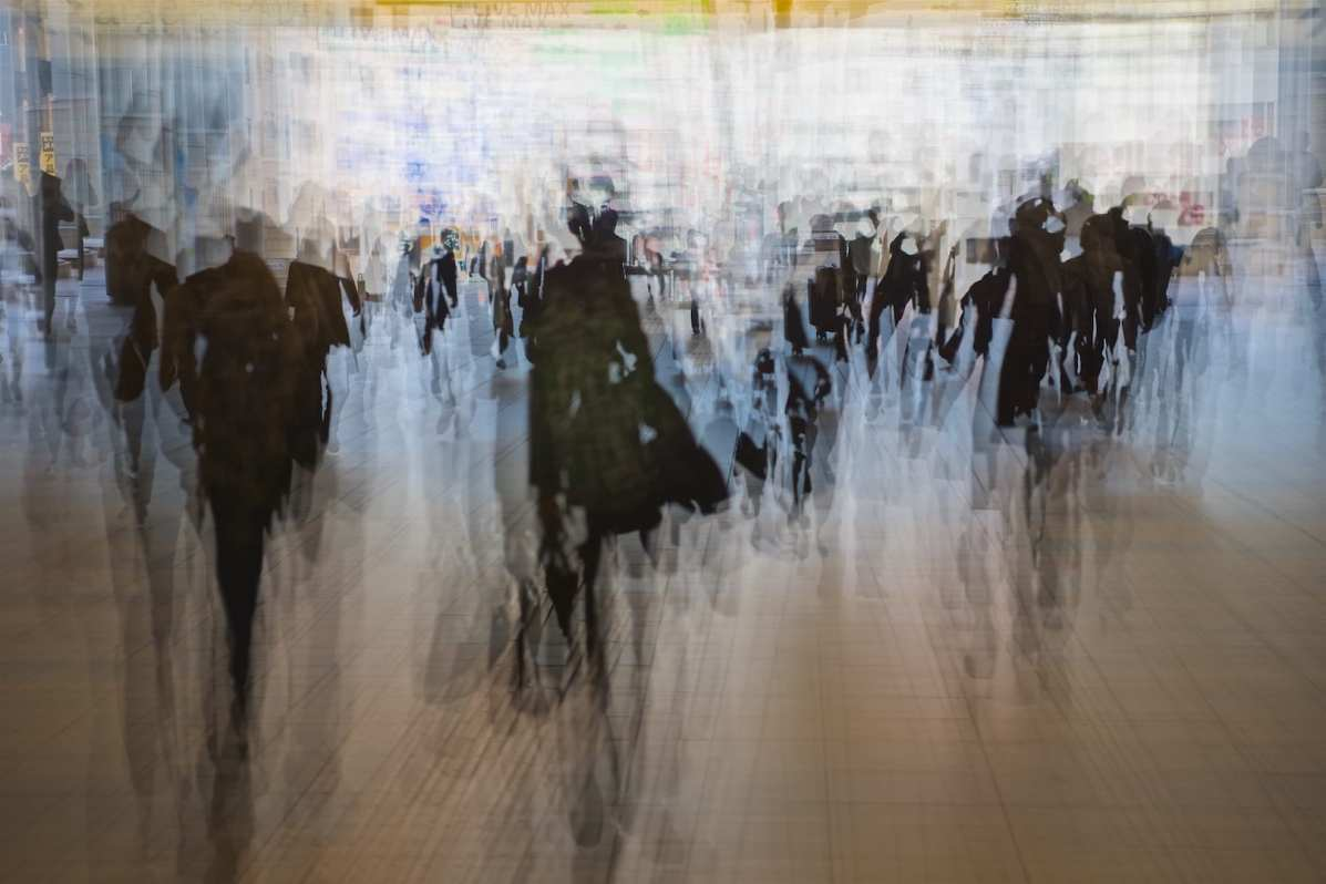 Shinagawa Station. Hi Ho, Hi Ho, it's off to work I go...in a multiple exposure (10 Frames - Nikon D5)