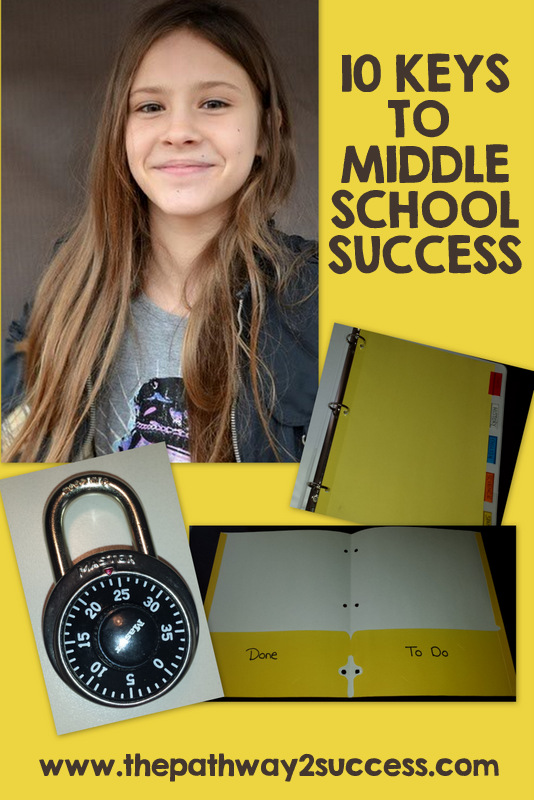 These top 10 middle school keys to success include a free set of printable worksheets and task cards to help young adults start the middle school years off right. Middle school hacks for success focus on staying organized, getting involved in activities, and more. #middleschool #teens #pathway2success