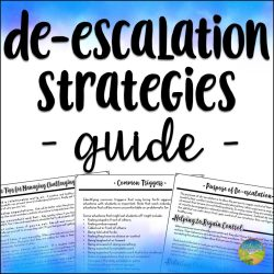 De-escalation strategies for kids and young adults. These are especially helpful tips for kids with oppositional defiant disorder, difficulty managing anger, and more.