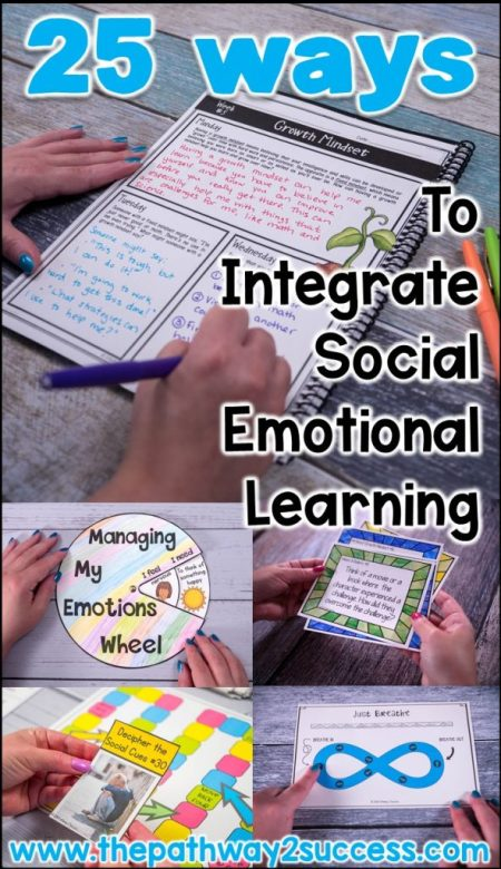 25 ways to integrate social emotional learning in the classroom. SEL activities include lessons, books, journaling, mindfulness, and other curriculum to help kids and teens learn the skills they need for success. Ideas can be applied at the preschool, elementary, middle, and high school levels!
