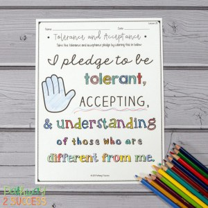 Free tolerance and acceptance pledge coloring page and more to help kids and young adults with social emotional learning skills. #sel #socialemotionallearning #pathway2success