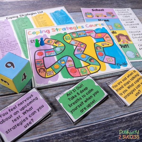 Use a coping strategies board game to help kids practice coping skills.