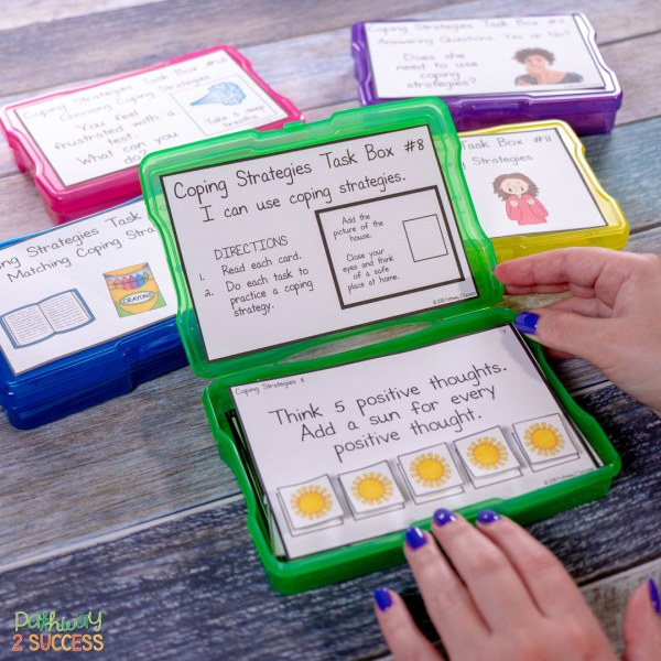 Use these coping strategies task boxes to practice social emotional learning skills in a hands-on and interactive way!