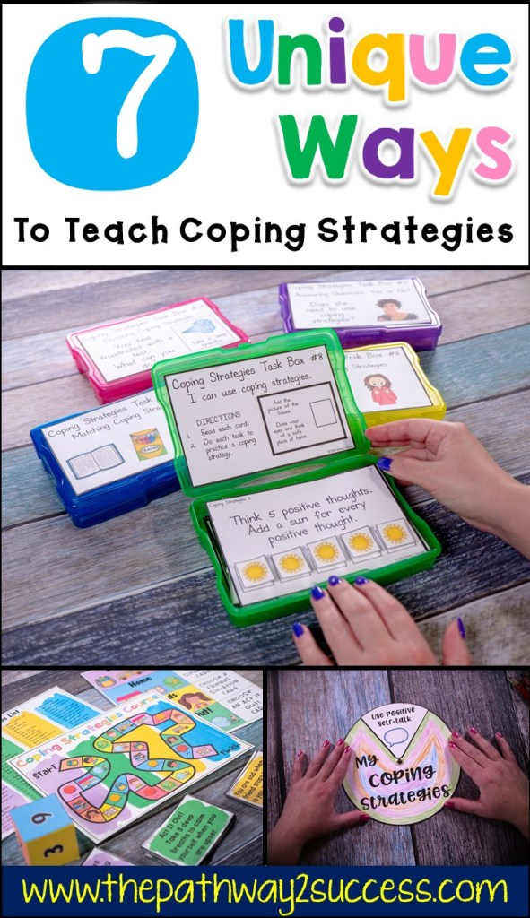 7 unique and interactive strategies for teaching coping skills to kids and teens. Read this blog post to see how you can make a DIY coping strategies wheel, use task boxes, and complete a free challenge to teach skills for managing emotions. #copingstrategies #copingskills #pathway2success