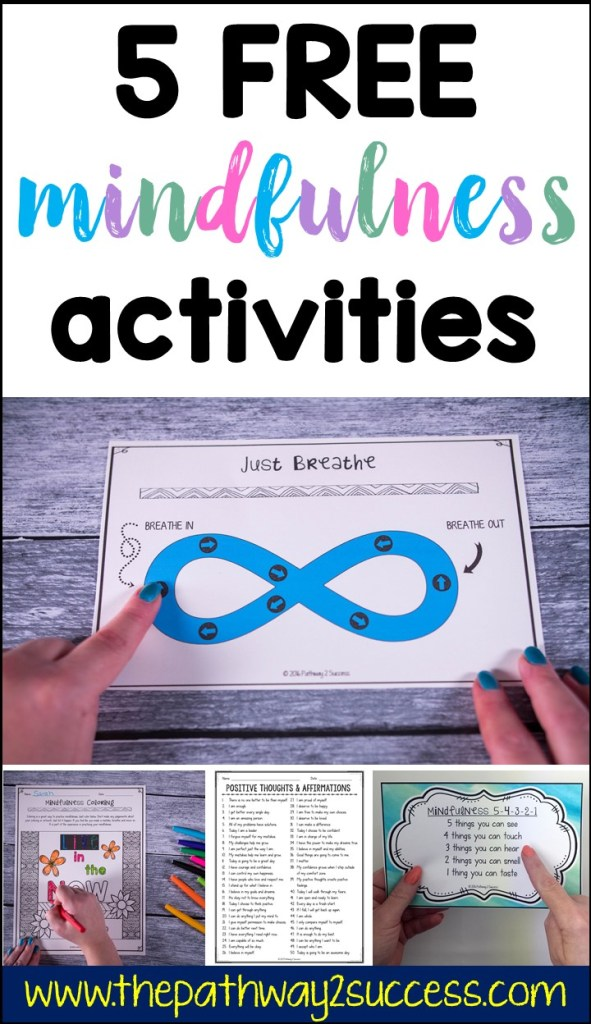 Check out these 5 free mindfulness activities you can use with kids and teens today to help them become more focused, positive, and in control of emotions! Use mindful coloring, mindful breathing, positive affirmations, and more. Kids and young adults will love these strategies and you can use them again and again! #pathway2success #mindfulness #bemindful #mindfulkids