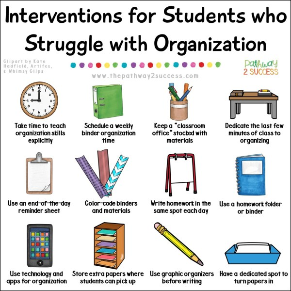 Over 20 interventions and supports for helping students who struggle with organization, a critical executive functioning skill necessary for success inside and outside of school. Strategies for kids and teens include activities that can be done at school and at home. Ideal for middle or high school teens. #executivefunctioning #studyskills #organization #pathway2success