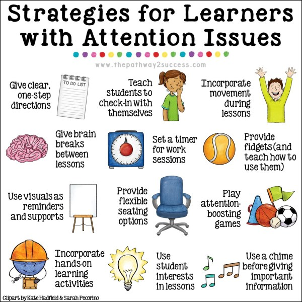 Over 20 interventions, strategies, and supports to help teach attention skills to kids and young adults. Being able to focus and pay attention is a requirement for learning! Use these activities to help students with ADHD and ALL learners improve focus while improving your classroom management. Try attention grabbers, setting a timer, using fidgets, implementing flexible seating, and more. This is for regular education AND special education needs! #adhd #pathway2success