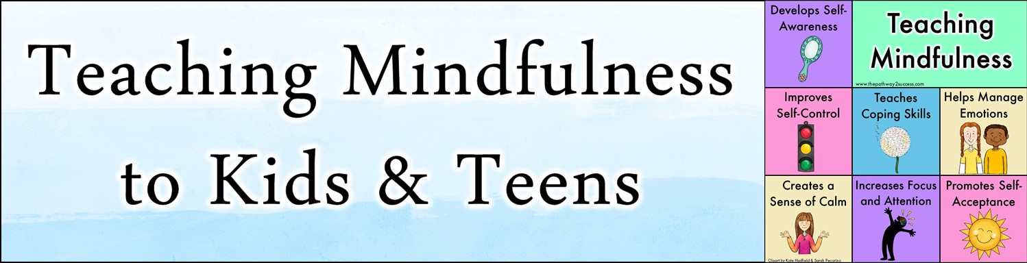 Everything you need to know about teaching mindfulness to kids and teens in the classroom (or at home!). Mindfulness is a healthy coping skill that improves self-regulation, increases focused, and allows for managing emotions. Use some of these ideas to start right away. #mindfulness #pathway2success