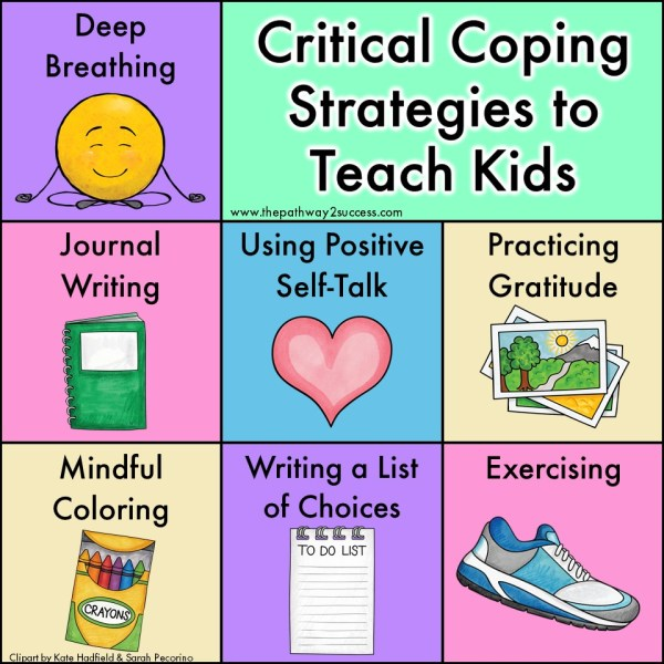 Coping strategies are the skills and tools to help kids and teens manage stress and tough emotions. Practice strategies like deep breathing, journal writing, practicing gratitude, mindful coloring, and more. #pathway2success