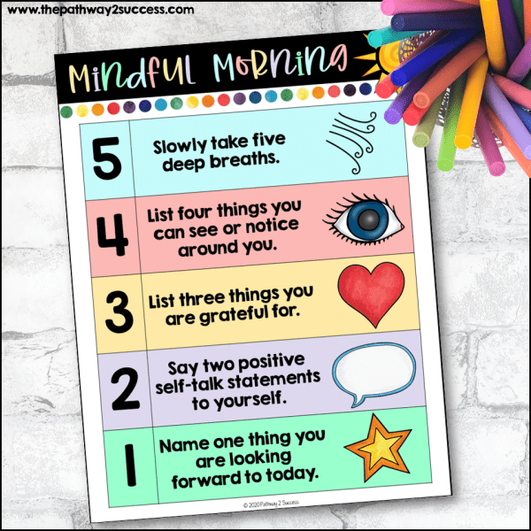 Use this free printable and digital activity to start each morning in a mindful way. Of course, it's not something you can do just in the morning but anytime of day when you need a break. It includes deep breathing, mindfulness, practicing gratitude, and more.