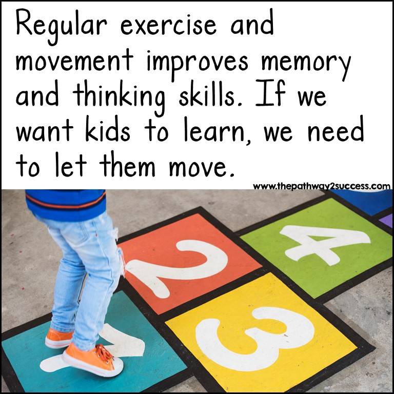 Movement helps kids who have executive functioning challenges learn.
