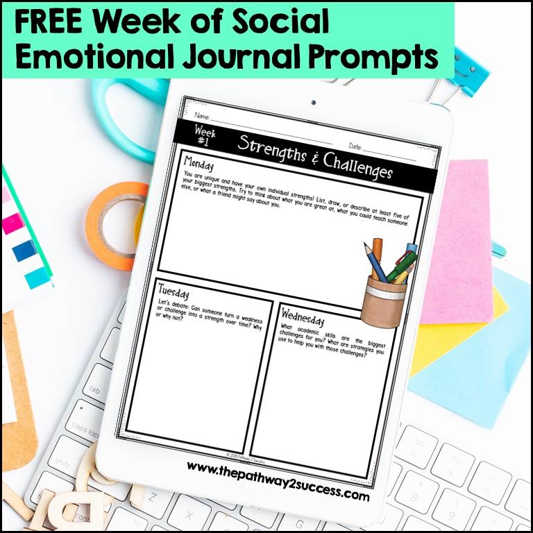 Free week of social emotional learning journal