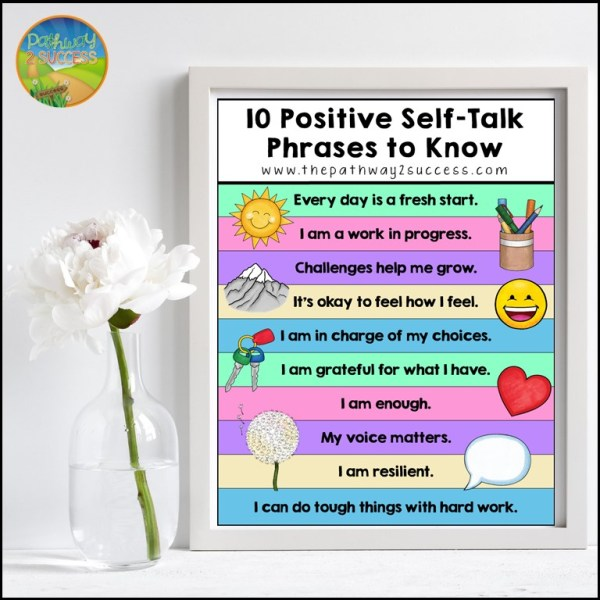 A free positive self-talk poster filled with meaningful self-talk affirmations for kids and teens to use. Positive self-talk is a helpful coping strategy and builds confidence!